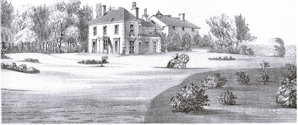 An old engraving of the house veiwed from the Ha Ha